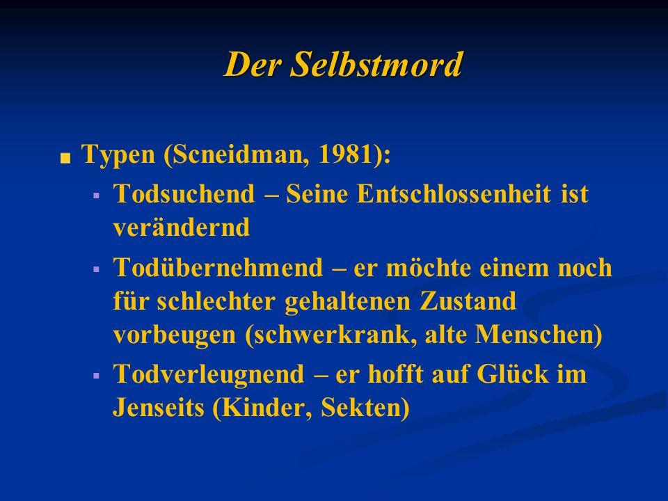 Der Selbstmord Typen (Scneidman, 1981): Todsuchend – Seine Entschlossenheit ist verändernd Todübernehmend – er möchte einem noch für schlechter gehalt