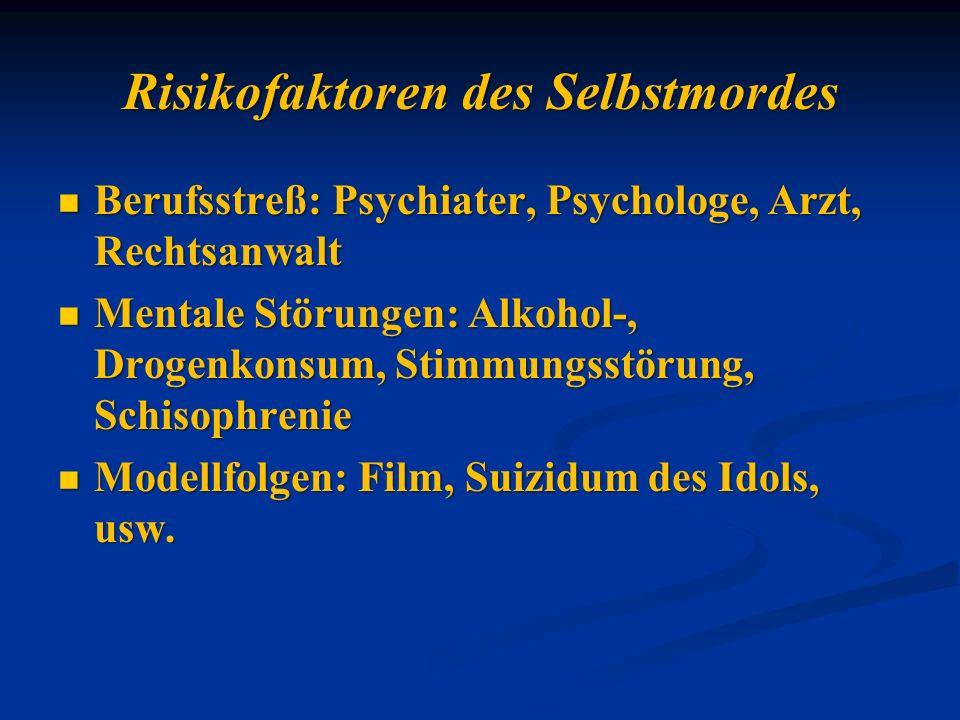 Risikofaktoren des Selbstmordes Berufsstreß: Psychiater, Psychologe, Arzt, Rechtsanwalt Berufsstreß: Psychiater, Psychologe, Arzt, Rechtsanwalt Mental