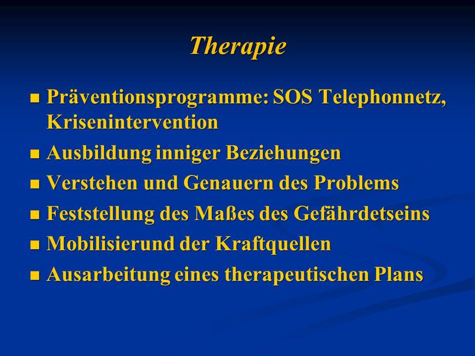Therapie Präventionsprogramme: SOS Telephonnetz, Krisenintervention Präventionsprogramme: SOS Telephonnetz, Krisenintervention Ausbildung inniger Bezi