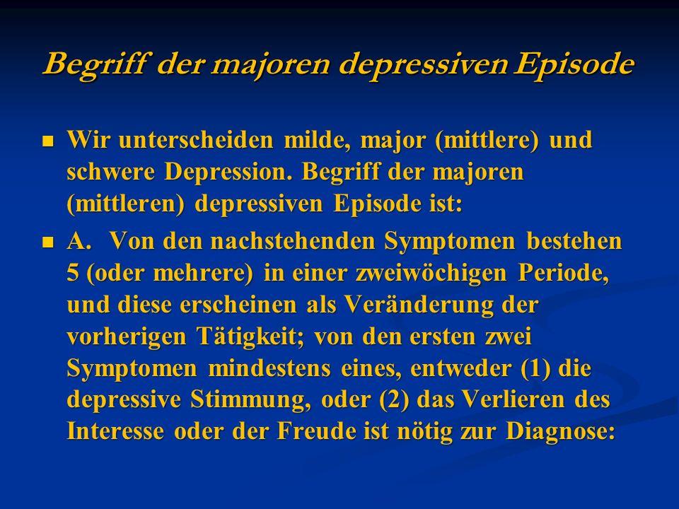 Wir unterscheiden milde, major (mittlere) und schwere Depression. Begriff der majoren (mittleren) depressiven Episode ist: Wir unterscheiden milde, ma