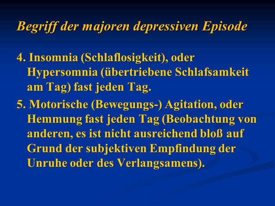 4. Insomnia (Schlaflosigkeit), oder Hypersomnia (übertriebene Schlafsamkeit am Tag) fast jeden Tag. 5. Motorische (Bewegungs-) Agitation, oder Hemmung