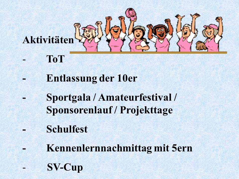 Aktivitäten -ToT -Entlassung der 10er -Sportgala / Amateurfestival / Sponsorenlauf / Projekttage -Schulfest -Kennenlernnachmittag mit 5ern - SV-Cup
