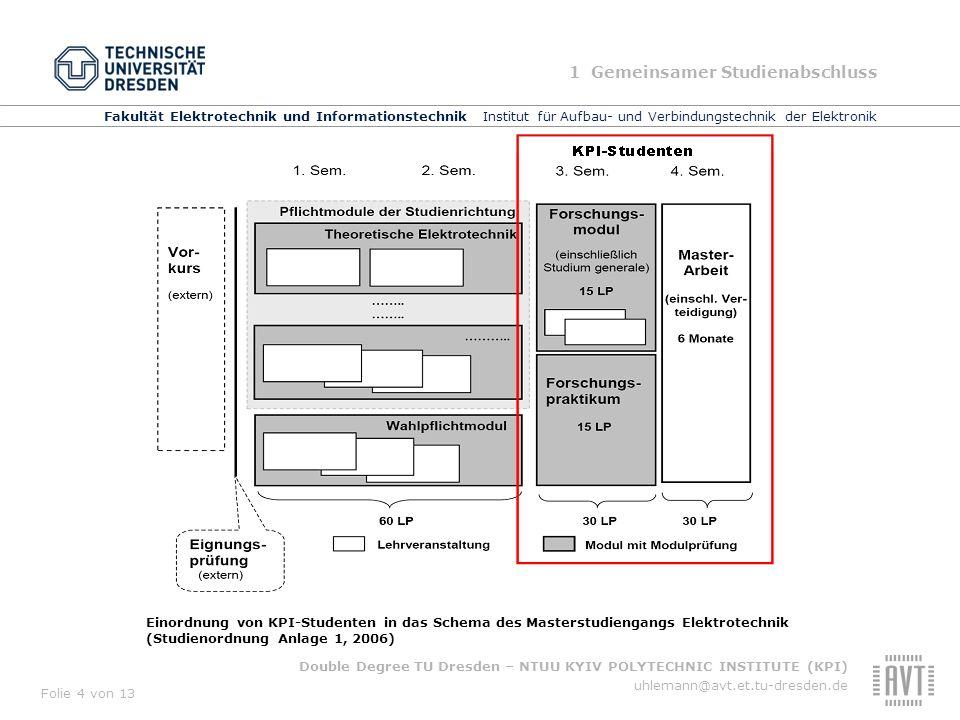 Fakultät Elektrotechnik und Informationstechnik Institut für Aufbau- und Verbindungstechnik der Elektronik Double Degree TU Dresden – NTUU KYIV POLYTECHNIC INSTITUTE (KPI) uhlemann@avt.et.tu-dresden.de Folie 5 von 13 Regularien für KPI-Studenten Studierende, die ein Double-Degree erwerben wollen, müssen 1.den Bachalor-Abschluss im KPI erworben und bereits das 1.