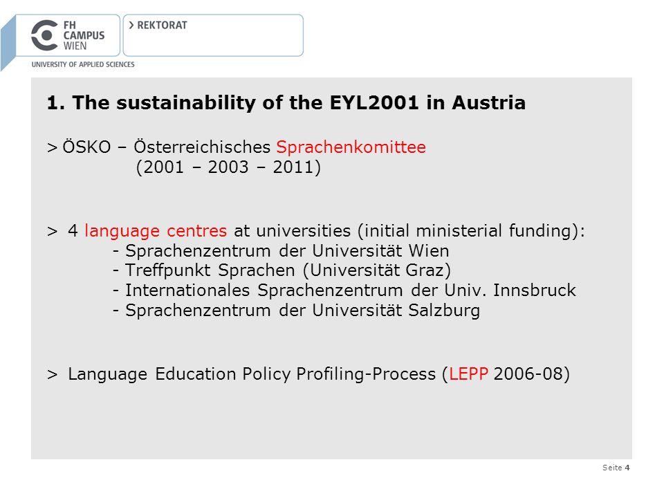 Seite 4 1. The sustainability of the EYL2001 in Austria >ÖSKO – Österreichisches Sprachenkomittee (2001 – 2003 – 2011) > 4 language centres at univers