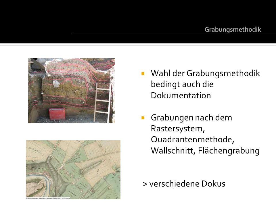Wahl der Grabungsmethodik bedingt auch die Dokumentation Grabungen nach dem Rastersystem, Quadrantenmethode, Wallschnitt, Flächengrabung > verschieden