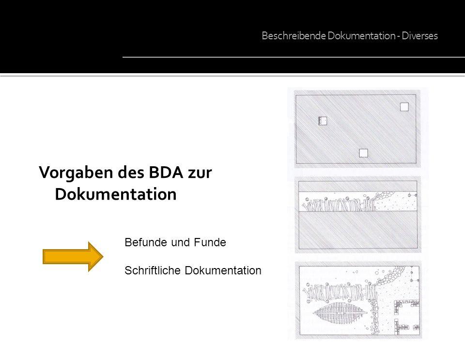 Vorgaben des BDA zur Dokumentation Beschreibende Dokumentation - Diverses Befunde und Funde Schriftliche Dokumentation