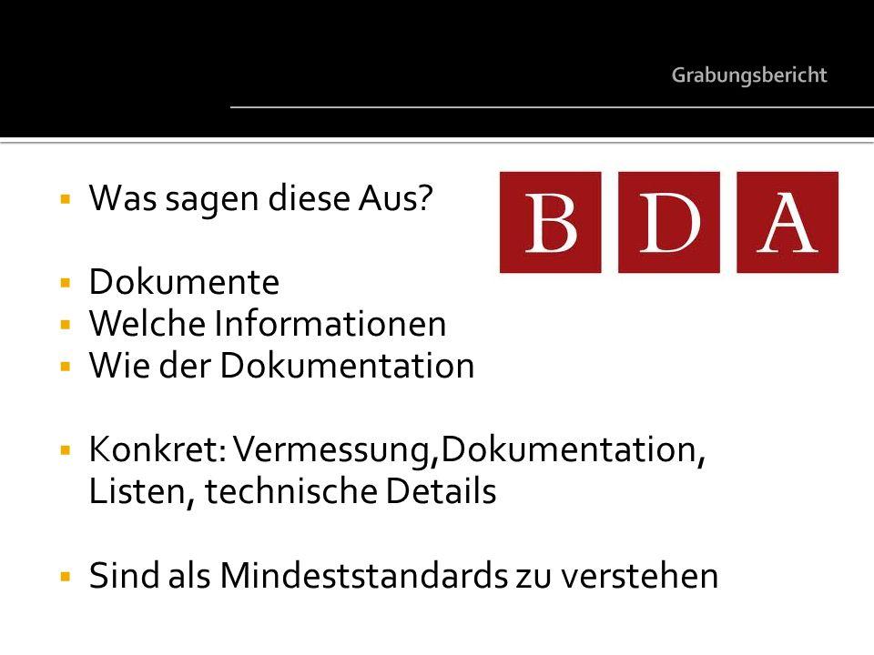 Was sagen diese Aus? Dokumente Welche Informationen Wie der Dokumentation Konkret: Vermessung,Dokumentation, Listen, technische Details Sind als Minde