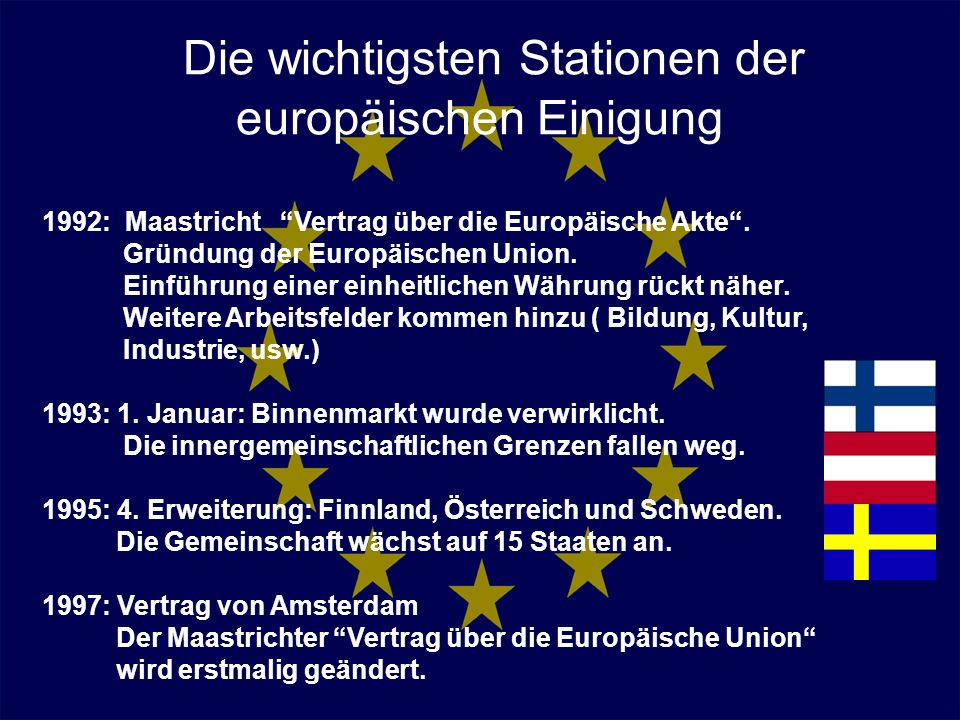 Die wichtigsten Stationen der europäischen Einigung 1992: Maastricht Vertrag über die Europäische Akte. Gründung der Europäischen Union. Einführung ei