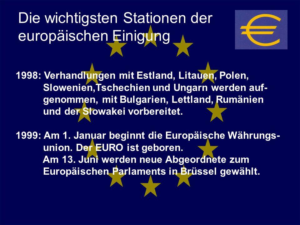 Die wichtigsten Stationen der europäischen Einigung 1998: Verhandlungen mit Estland, Litauen, Polen, Slowenien,Tschechien und Ungarn werden auf- genom