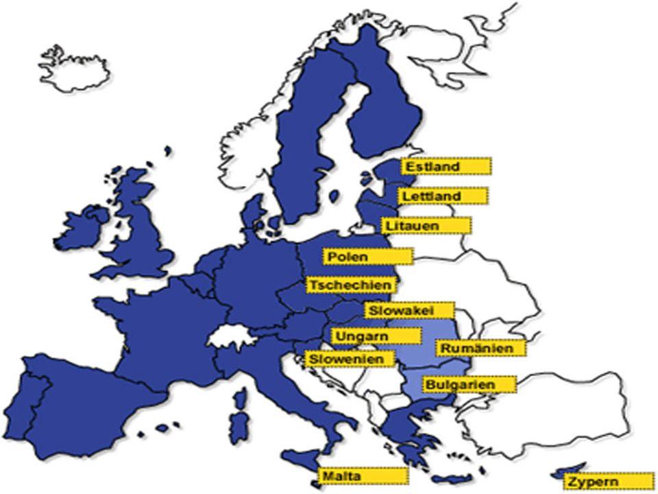Die wichtigsten Stationen der europäischen Einigung 2003: April Beitrittsverträge 10 Staaten 2004: 1. Mai Beitrittsvertrag in Kraft 10 neue Mitgliedst