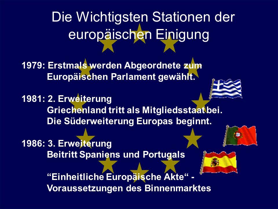 Die Wichtigsten Stationen der europäischen Einigung 1979: Erstmals werden Abgeordnete zum Europäischen Parlament gewählt. 1981: 2. Erweiterung Grieche