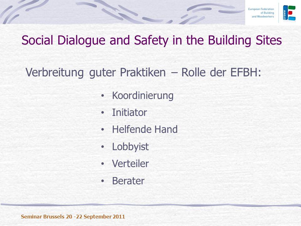 Verbreitung guter Praktiken – Rolle der EFBH: Koordinierung Initiator Helfende Hand Lobbyist Verteiler Berater Social Dialogue and Safety in the Build