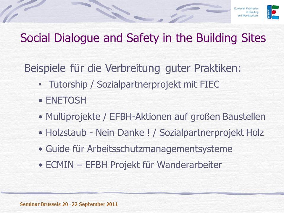 Beispiele für die Verbreitung guter Praktiken: Tutorship / Sozialpartnerprojekt mit FIEC ENETOSH Multiprojekte / EFBH-Aktionen auf großen Baustellen Holzstaub - Nein Danke .