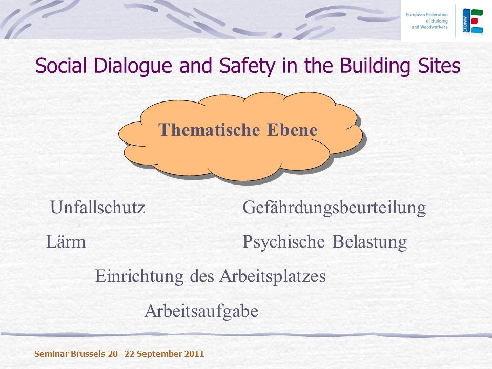 Social Dialogue and Safety in the Building Sites Seminar Brussels 20 -22 September 2011 Thematische Ebene UnfallschutzGefährdungsbeurteilung Lärm Psychische Belastung Einrichtung des Arbeitsplatzes Arbeitsaufgabe