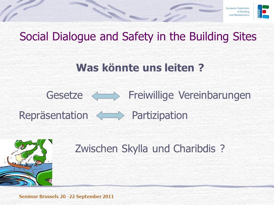 Was könnte uns leiten ? Gesetze Freiwillige Vereinbarungen Repräsentation Partizipation Zwischen Skylla und Charibdis ? Social Dialogue and Safety in