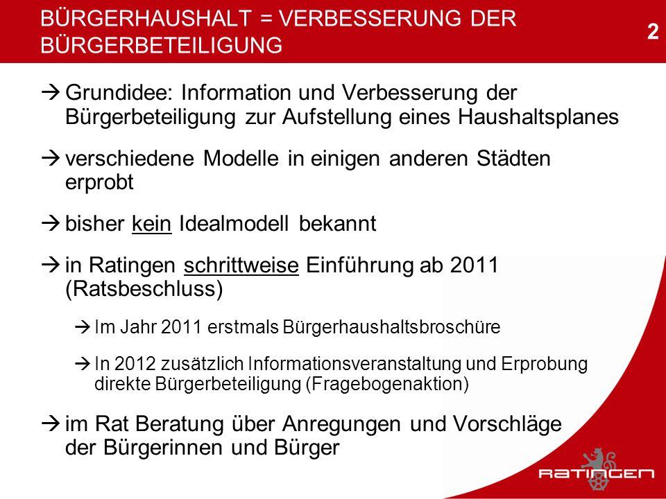 2 BÜRGERHAUSHALT = VERBESSERUNG DER BÜRGERBETEILIGUNG Grundidee: Information und Verbesserung der Bürgerbeteiligung zur Aufstellung eines Haushaltspla