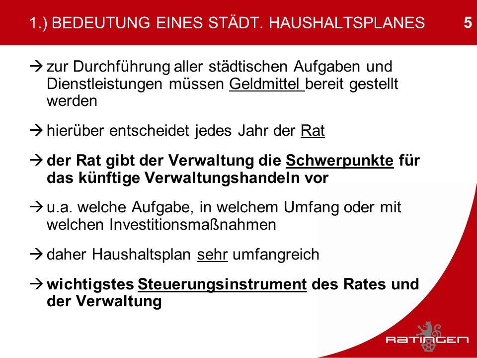 5 1.) BEDEUTUNG EINES STÄDT. HAUSHALTSPLANES zur Durchführung aller städtischen Aufgaben und Dienstleistungen müssen Geldmittel bereit gestellt werden