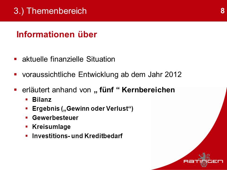 8 3.) Themenbereich Informationen über aktuelle finanzielle Situation voraussichtliche Entwicklung ab dem Jahr 2012 erläutert anhand von fünf Kernbere