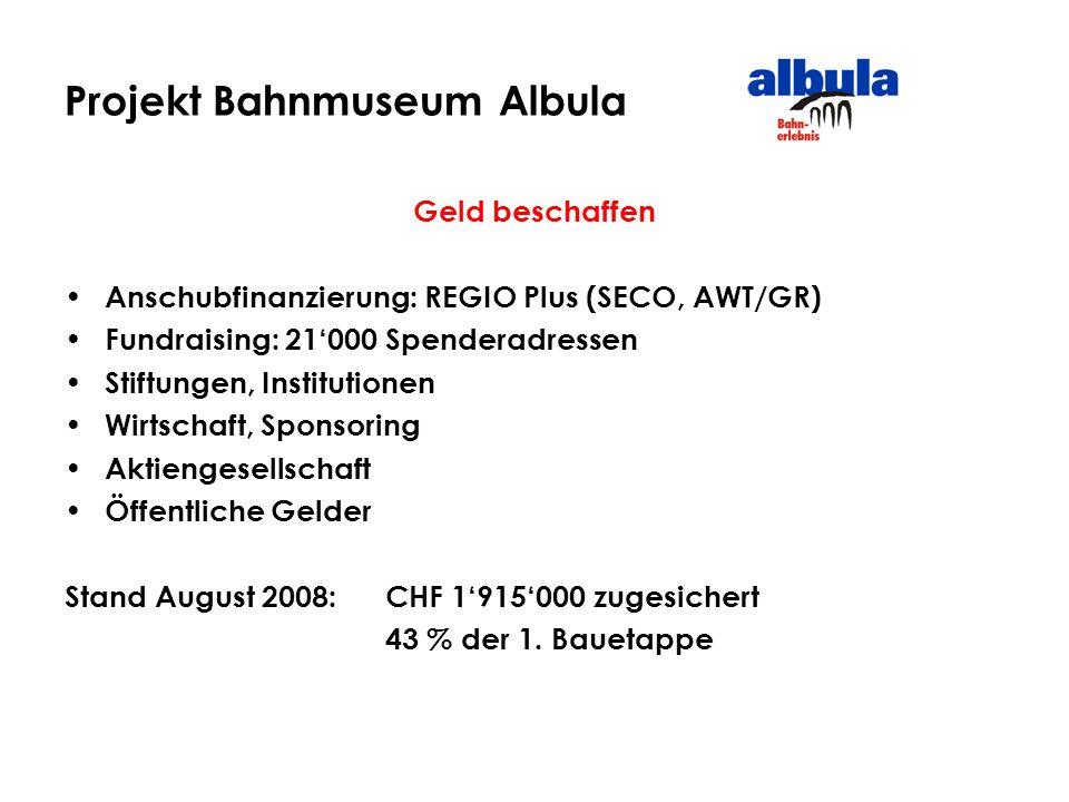 Projekt Bahnmuseum Albula Geld beschaffen Anschubfinanzierung: REGIO Plus (SECO, AWT/GR) Fundraising: 21000 Spenderadressen Stiftungen, Institutionen
