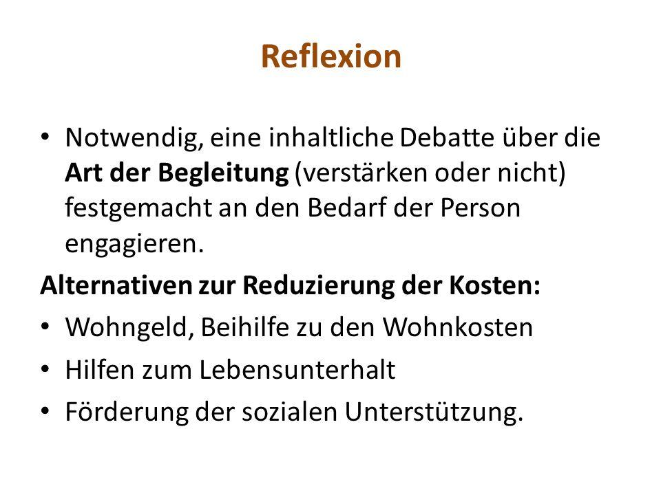 Reflexion Notwendig, eine inhaltliche Debatte über die Art der Begleitung (verstärken oder nicht) festgemacht an den Bedarf der Person engagieren.