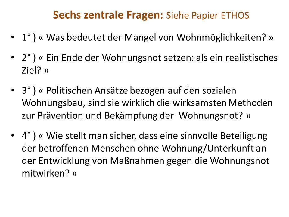 Sechs zentrale Fragen: Siehe Papier ETHOS 1° ) « Was bedeutet der Mangel von Wohnmöglichkeiten.