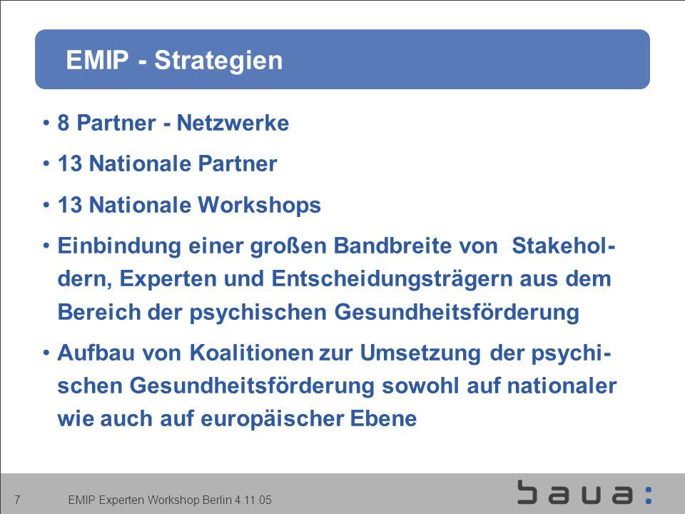 EMIP Experten Workshop Berlin 4.11.05 7 EMIP - Strategien 8 Partner - Netzwerke 13 Nationale Partner 13 Nationale Workshops Einbindung einer großen Bandbreite von Stakehol- dern, Experten und Entscheidungsträgern aus dem Bereich der psychischen Gesundheitsförderung Aufbau von Koalitionen zur Umsetzung der psychi- schen Gesundheitsförderung sowohl auf nationaler wie auch auf europäischer Ebene
