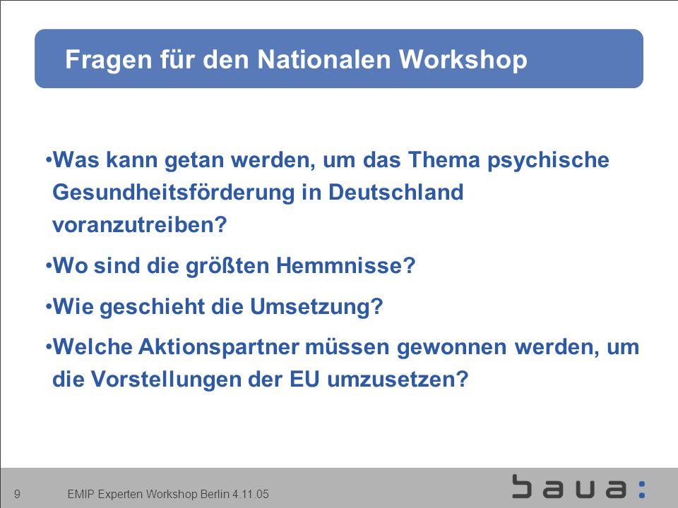 EMIP Experten Workshop Berlin 4.11.05 9 Fragen für den Nationalen Workshop Was kann getan werden, um das Thema psychische Gesundheitsförderung in Deutschland voranzutreiben.