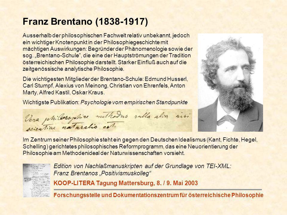 Ausserhalb der philosophischen Fachwelt relativ unbekannt, jedoch ein wichtiger Knotenpunkt in der Philosophiegeschichte mit mächtigen Auswirkungen: Begründer der Phänomenologie sowie der sog.