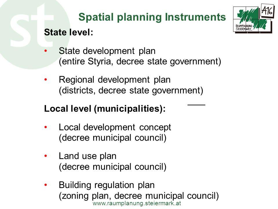 www.raumplanung.steiermark.at State level: State development plan (entire Styria, decree state government) Regional development plan (districts, decre
