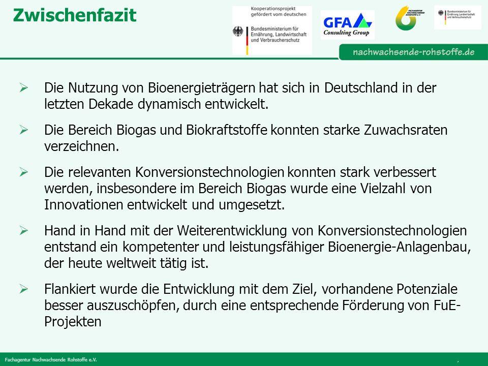 Fachagentur Nachwachsende Rohstoffe e.V., Zwischenfazit Die Nutzung von Bioenergieträgern hat sich in Deutschland in der letzten Dekade dynamisch entwickelt.
