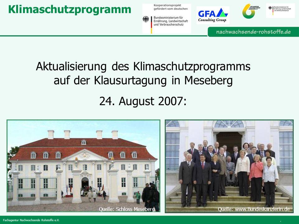 Fachagentur Nachwachsende Rohstoffe e.V., Klimaschutzprogramm Aktualisierung des Klimaschutzprogramms auf der Klausurtagung in Meseberg 24.