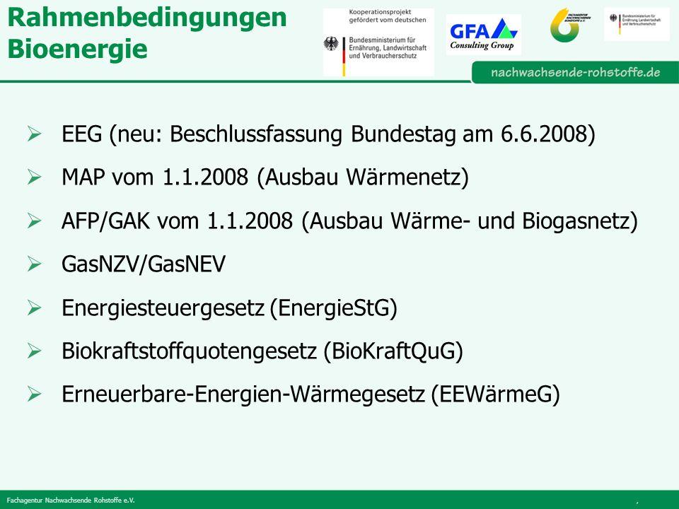 Fachagentur Nachwachsende Rohstoffe e.V., Rahmenbedingungen Bioenergie EEG (neu: Beschlussfassung Bundestag am 6.6.2008) MAP vom 1.1.2008 (Ausbau Wärmenetz) AFP/GAK vom 1.1.2008 (Ausbau Wärme- und Biogasnetz) GasNZV/GasNEV Energiesteuergesetz (EnergieStG) Biokraftstoffquotengesetz (BioKraftQuG) Erneuerbare-Energien-Wärmegesetz (EEWärmeG)