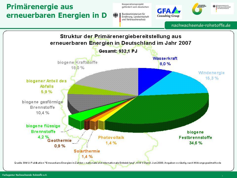 Fachagentur Nachwachsende Rohstoffe e.V., Primärenergie aus erneuerbaren Energien in D