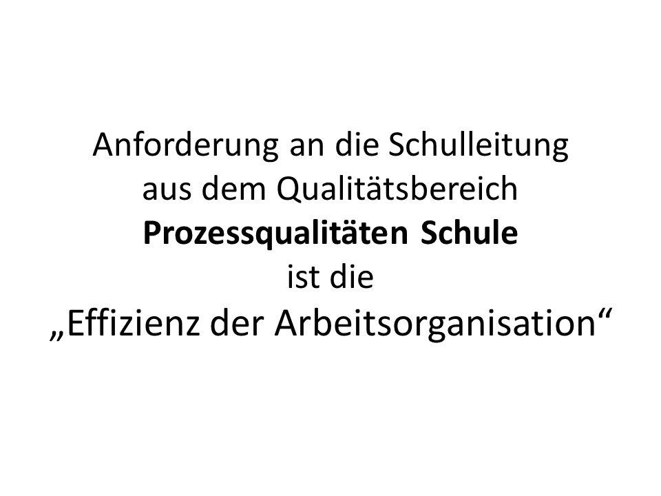 Anforderung an die Schulleitung aus dem Qualitätsbereich Prozessqualitäten Schule ist die Effizienz der Arbeitsorganisation