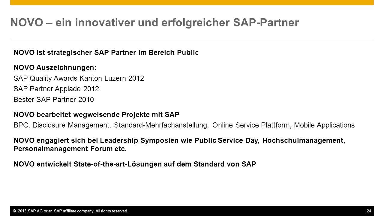 ©2013 SAP AG or an SAP affiliate company. All rights reserved.24 NOVO – ein innovativer und erfolgreicher SAP-Partner NOVO ist strategischer SAP Partn
