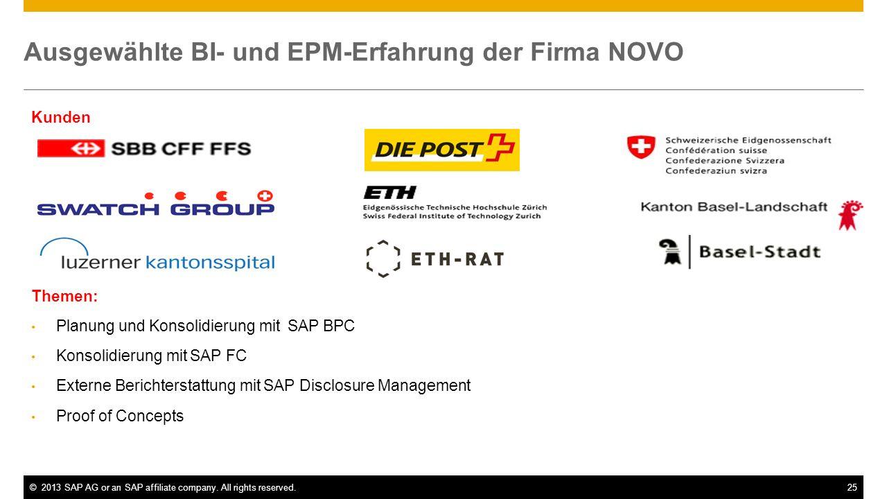 ©2013 SAP AG or an SAP affiliate company. All rights reserved.25 Ausgewählte BI- und EPM-Erfahrung der Firma NOVO Kunden Themen: Planung und Konsolidi