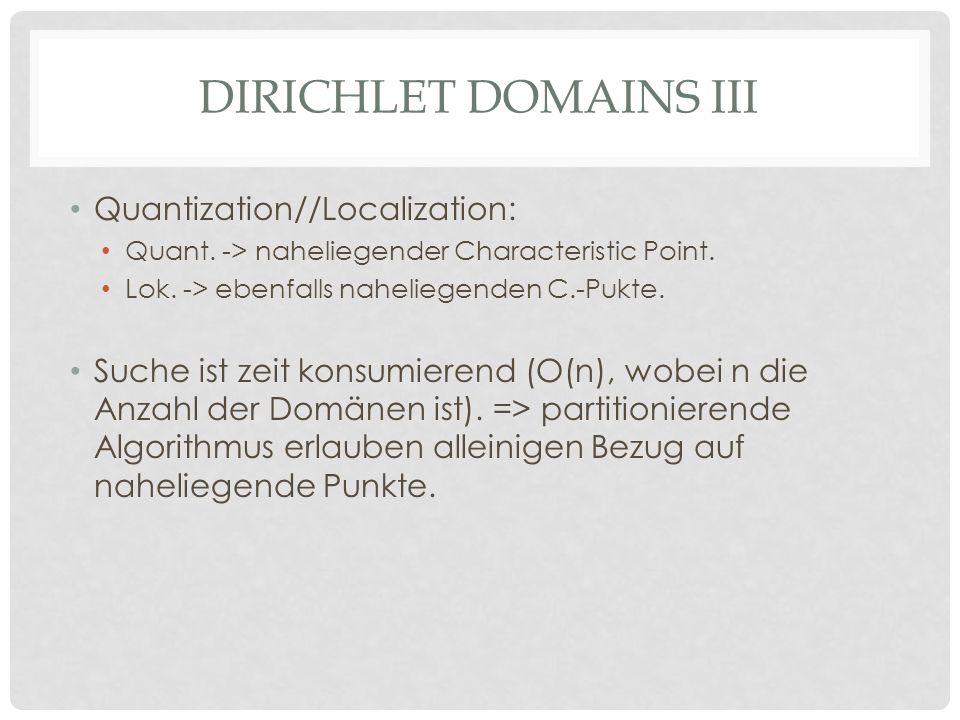DIRICHLET DOMAINS III Quantization//Localization: Quant.