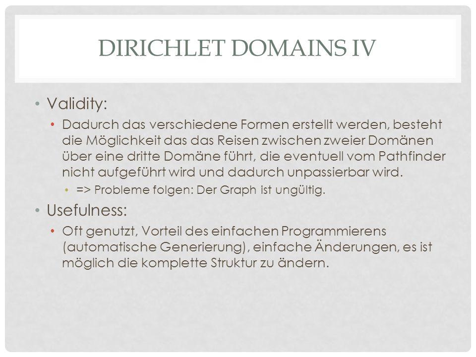 DIRICHLET DOMAINS IV Validity: Dadurch das verschiedene Formen erstellt werden, besteht die Möglichkeit das das Reisen zwischen zweier Domänen über eine dritte Domäne führt, die eventuell vom Pathfinder nicht aufgeführt wird und dadurch unpassierbar wird.