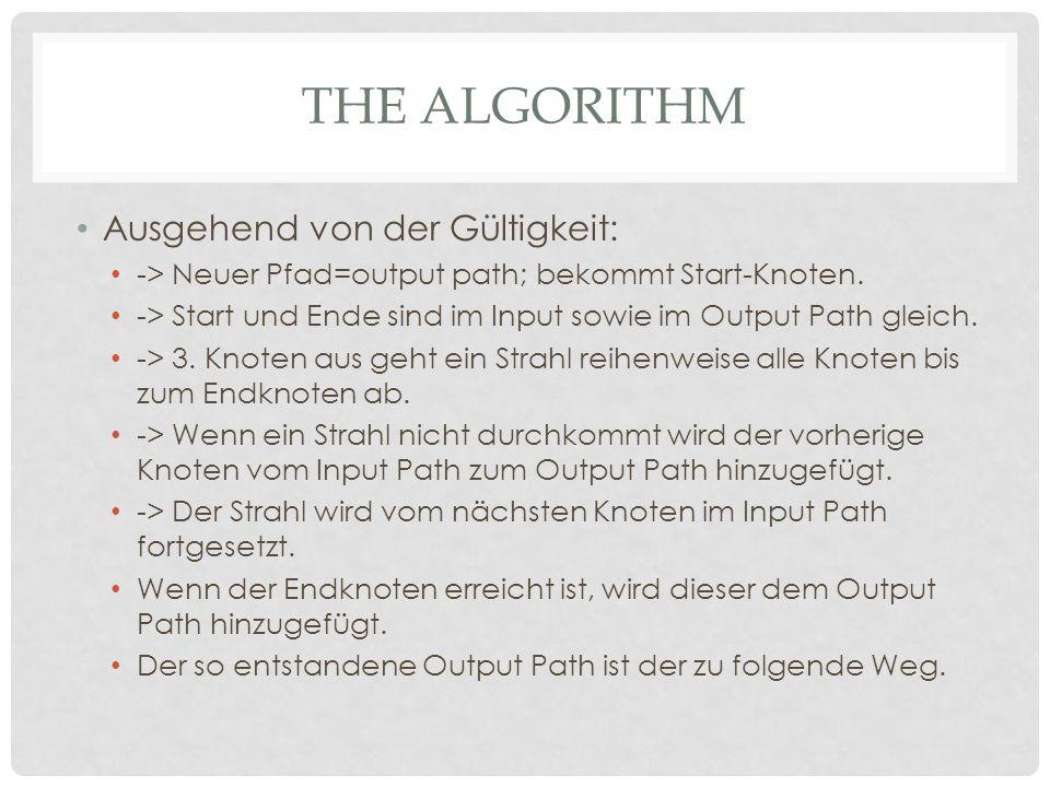 THE ALGORITHM Ausgehend von der Gültigkeit: -> Neuer Pfad=output path; bekommt Start-Knoten.