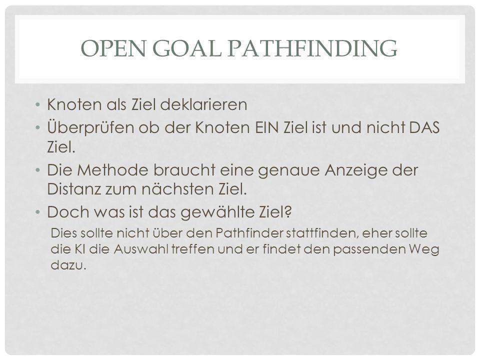 OPEN GOAL PATHFINDING Knoten als Ziel deklarieren Überprüfen ob der Knoten EIN Ziel ist und nicht DAS Ziel.