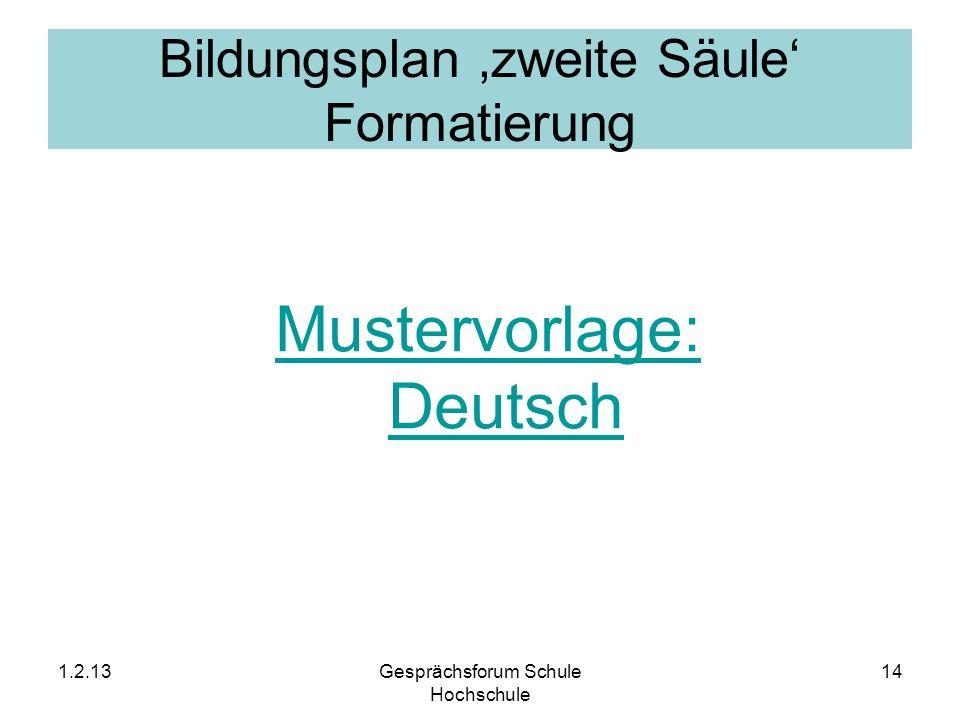 Bildungsplan zweite Säule Formatierung Mustervorlage: Deutsch 1.2.13Gesprächsforum Schule Hochschule 14
