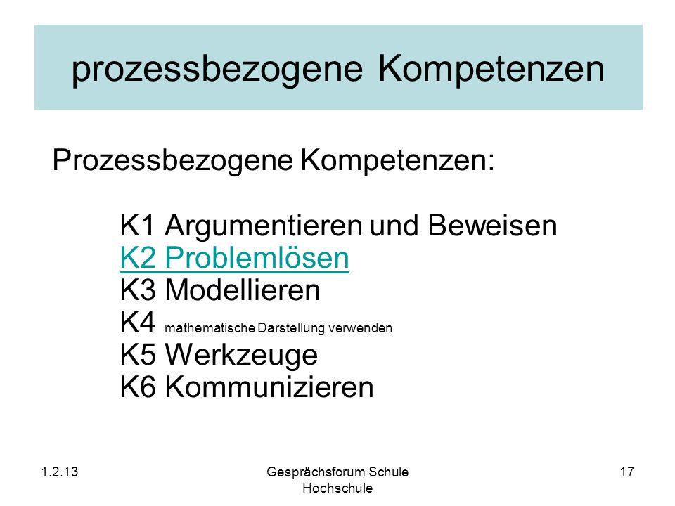 prozessbezogene Kompetenzen Prozessbezogene Kompetenzen: K1 Argumentieren und Beweisen K2 Problemlösen K3 Modellieren K4 mathematische Darstellung ver