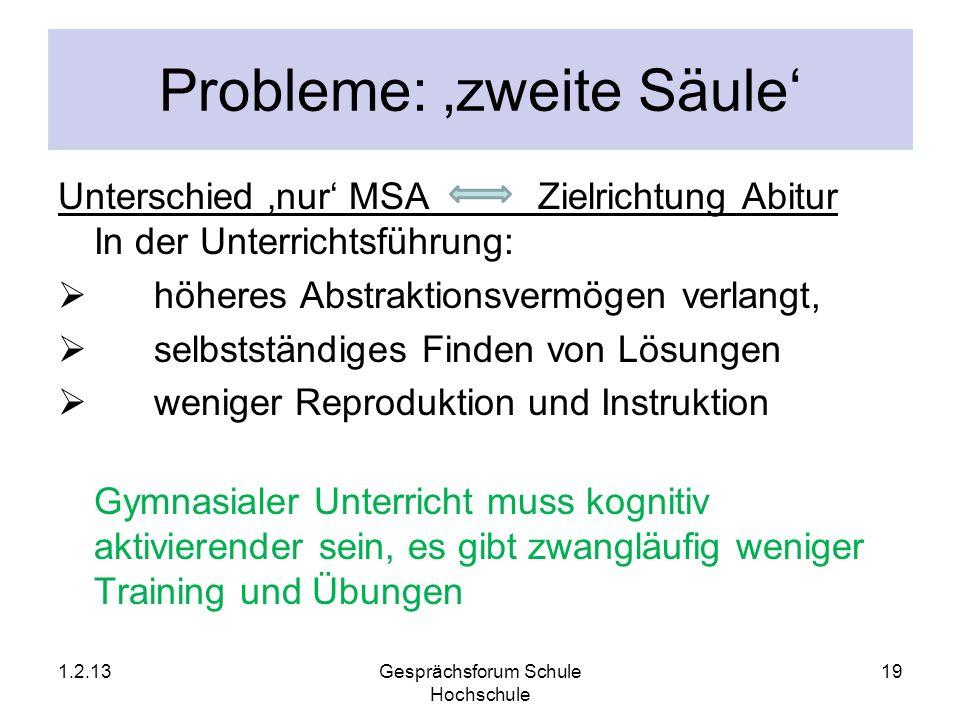 Probleme: zweite Säule Unterschied nur MSA Zielrichtung Abitur In der Unterrichtsführung: höheres Abstraktionsvermögen verlangt, selbstständiges Finde