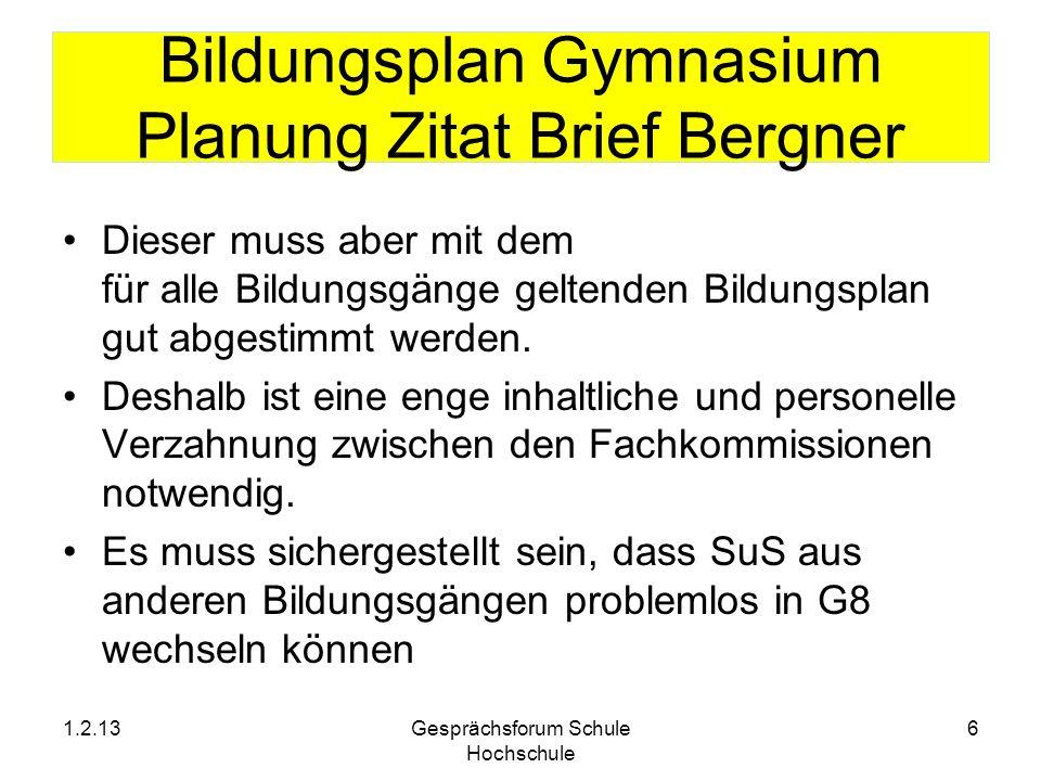 Bildungsplan Gymnasium Planung Zitat Brief Bergner Dieser muss aber mit dem für alle Bildungsgänge geltenden Bildungsplan gut abgestimmt werden. Desha