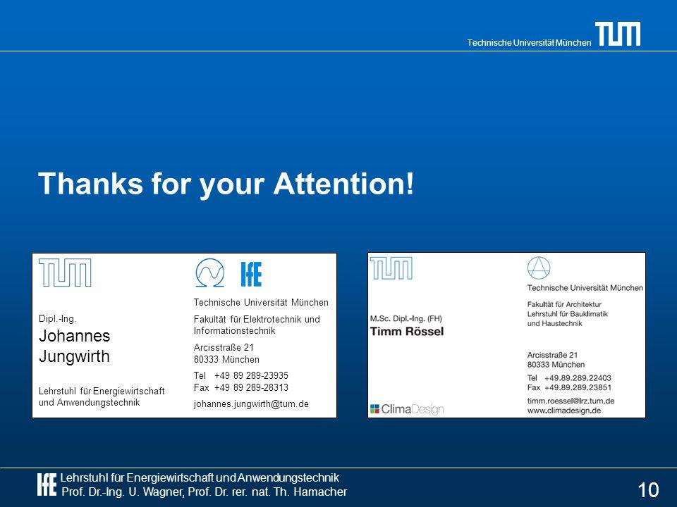 Lehrstuhl für Energiewirtschaft und Anwendungstechnik Prof. Dr.-Ing. U. Wagner, Prof. Dr. rer. nat. Th. Hamacher Technische Universität München Thanks