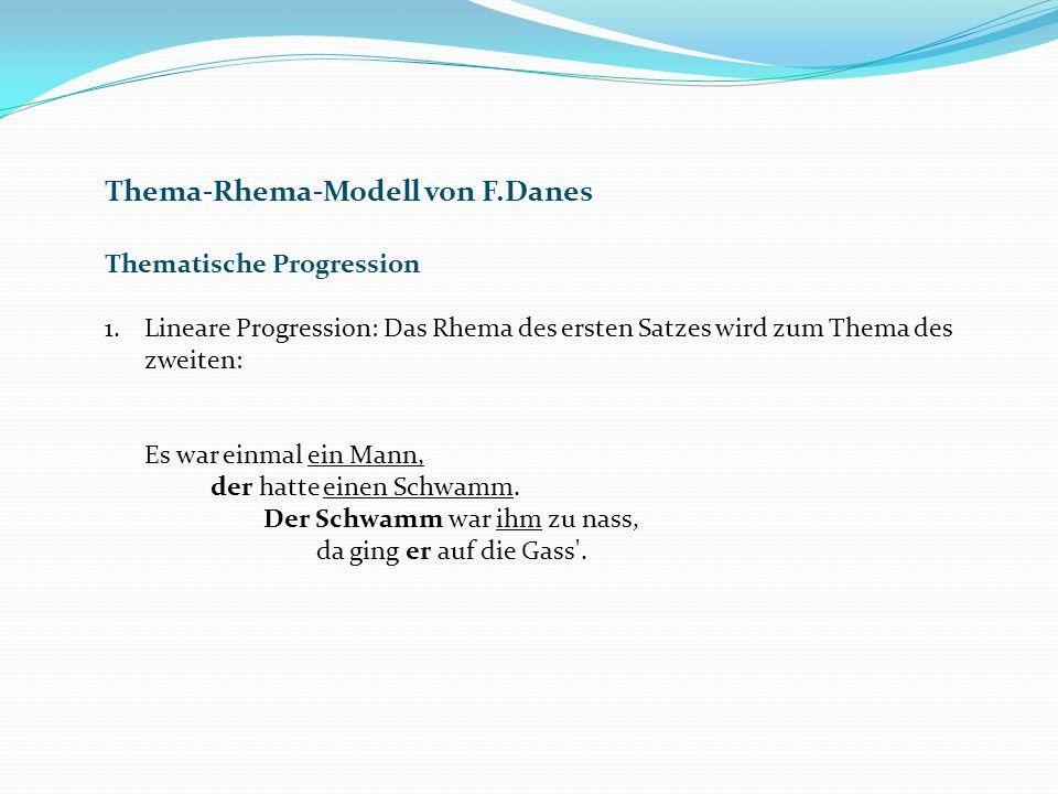 Thema-Rhema-Modell von F.Danes Thematische Progression 1.Lineare Progression: Das Rhema des ersten Satzes wird zum Thema des zweiten: Es war einmal ein Mann, der hatte einen Schwamm.