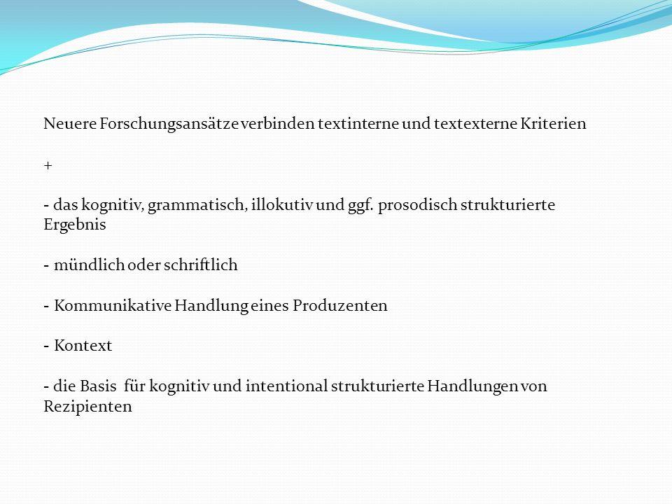 Textbeschreibungsmodelle Strukturell-grammatische Textauffassungen Ununterbrochene pronominale Verkettung (R.Harweg) Pronominalisierung als Prinzip der Wiederaufnahme: -explizite - Referenzidentität (Bezugnahme auf dasselbe Objekt = Koreferenz): wörtliche Wiederholung (Rekurrenz) Wien - Wien, ein synonymer (bedeutungsgleicher oder -ähnlicher) Ausdruck: der Sprachwissenschaftler – der Linguist, Pro-Formen (Pronomen, Pronominaladverbien) Carl hörte die munteren Stimmen.