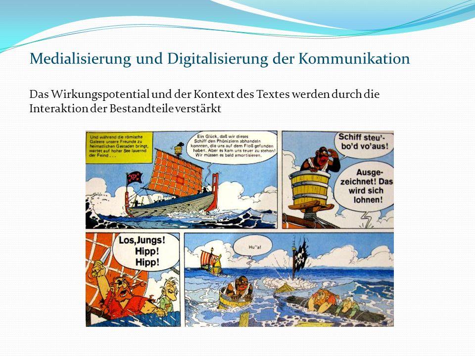 Medialisierung und Digitalisierung der Kommunikation Das Wirkungspotential und der Kontext des Textes werden durch die Interaktion der Bestandteile verstärkt