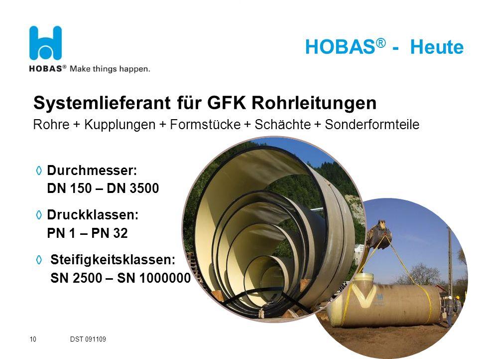 HOBAS ® - Heute ODurchmesser: DN 150 – DN 3500 ODruckklassen: PN 1 – PN 32 O Steifigkeitsklassen: SN 2500 – SN 1000000 Systemlieferant für GFK Rohrlei