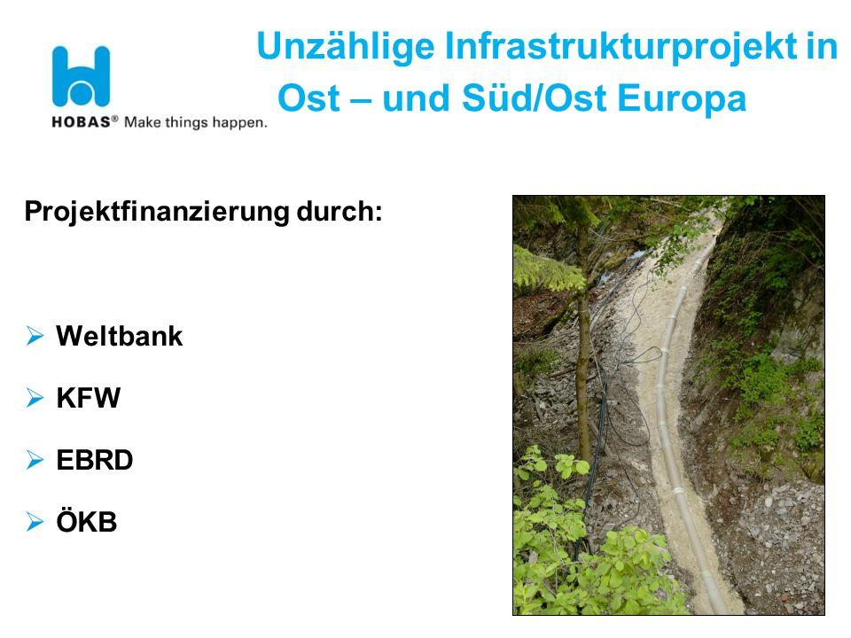 Unzählige Infrastrukturprojekt in Ost – und Süd/Ost Europa Projektfinanzierung durch: Weltbank KFW EBRD ÖKB